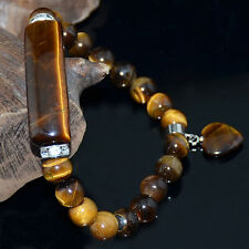 8mm Yellow Tiger Eye Bracelet w/Curved Columnar Bead and Heart Pendant 7.8""
