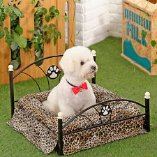 Pet Bed Dog Bed Cushion Upscale Metal Frame Mattress Included Dog Leopard Beds