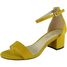 Womens Mid Heel Shoes Ladies Suede Ankle Strap Buckle Work Summer Sandals Size UK 6 / EU 39 / US 8 Yellow
