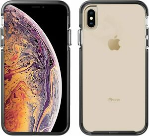 iPhone XS Max Case Clear Black with Silver Button - Pelican Slim & Stylish