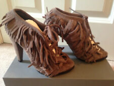 *NEW* SOLD OUT ZARA PUTTY BROWN 100% SUEDE FRINGE SHOES BOOTS UK 37 4