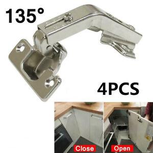 4pcs Kitchen Cabinet Hinge Cupboard Wardrobe 135° Corner Fold Door Hinges