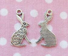 6 x lièvre lapin bunny wican tibétain antique silver charm pendentif perles