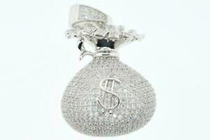 Mens White Gold Plated Hip Hop Iced CZ Bling Money Bag Pendant with Rope Chain