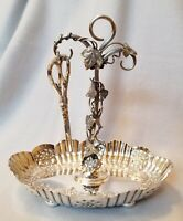 Atkins Brothers Victorian Silverplate Grape Stand Repousse Decor. English c.1890