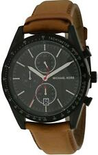 MICHAEL KORS ACCELERATOR BLACK TONE,BROWN LEATHER BAND,CHRONOGRAPH WATCH MK8385