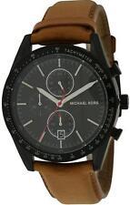 MICHAEL KORS  ACCELERATOR BLACK TONE,BROWN LEATHER BAND,CHRONOGRAPH WATCH MK8385