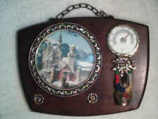 Decorative Wood Wall Hanging Key Holder w/ Thermometer & Castle Picture