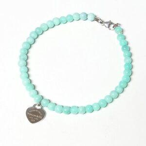 Tiffany & Co. Return to Heart Blue Amazonite Bracelet Silver 925 Auth #5362