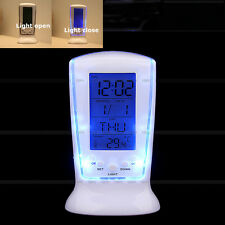 LED Digital LCD Table Desk Travel Alarm Clock Calendar Thermometer No Ticking