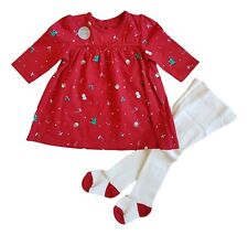 Ex George Baby Girl Red Christmas Xmas Dress & Tights Outfit Age N/B 3 6 9 12 18