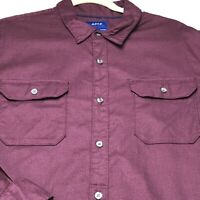 Apt 9 Men's Long Sleeves Button Up Shirt XL Maroon Two Pockets Slim Fit Casual