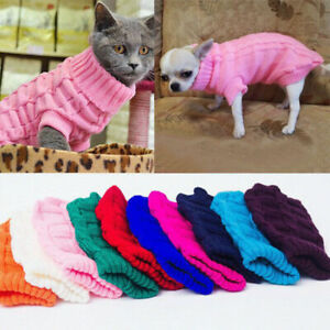 Pet Dog Warm Clothes Knitted Coat Sweater S M L Winter Jacket Vest Costume Uk