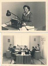 Vintage Photo Foto Austria Büro Sekretärin secretary Schreibmaschine Maiden 2 x