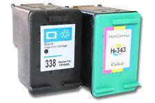 2x XXL CARTUCHO TINTA negro y color para HP 338 343 Deskjet 5740 / 5743 / 5745