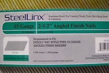 """15 ga. 2 1/2"""" angled DA style Stainless steel finish nails. 1,000 pack"""