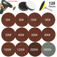 120PCS Sanding Discs Pads For Drill Grinder Rotary Tools + Backing Pad 2inch