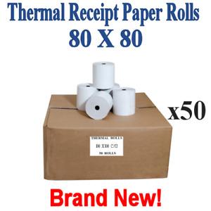 Brand New Thermal Receipt Paper Rolls 80 x 80 50 Rolls per Box