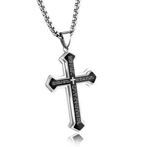 Black Men's Cross Pendant Christian Necklace Stainless Steel Male Jewelry