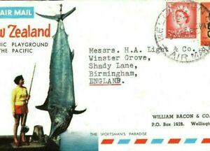 NEW ZEALAND PICTORIAL Air Cover Tourism Advert FISHING SHARK 1960 BIRDS MA686