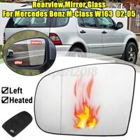 Left Heated Rearview Door Mirror Glass For Mercedes M-Class W163 2002-2005 Clear