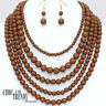 BROWN  MULTI STRAND BEADED CHUNKY FASHION NECKLACE JEWELRY SET CHIC & TRENDY