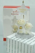 GODCHILD HALLMARK ORNAMENT 2013 PAIR OF WHITE LAMBS DATED CUTE!~FREE SHIP IN US~