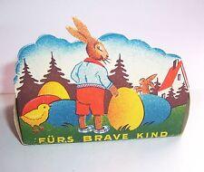 Schöne Ostern Pappschachtel Frohe Ostern fürs brave Kind um 1930 / 40 Hasen !