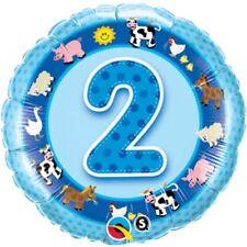 """Zweiter Geburtstag blau Tiere Junge 18"""" Folien Ballon für Luft / Helium Qualatex"""