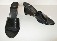 Stuart Weitzman Wedge Heel Mules Shoes 8B Women black patent