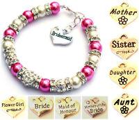 Personalised Wedding Bridesmaid Bride Flower Girl Birthday Charm Bracelet Gift