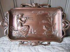 Antique Royal Zinn Coppered Pewter Jugendstil Art Nouveau Tray