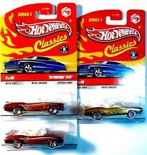 3 Hot Wheels 70 Pontiac Gto Convertibles, All Series 5 Classics incl 1 Chase!