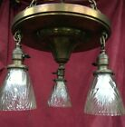 Antique Brass 3 Light Chandelier Arts and Crafts Ceiling Light Fixture   shades