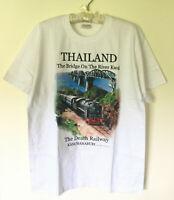 Thailand Bangkok Souvenir Men L White T-Shirt Death Railway Kanchanaburi Kwai