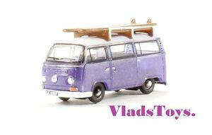 Oxford 1:148 N Gauge Volkswagen Bay Window Minibus w/Surfboards Purple NVW015