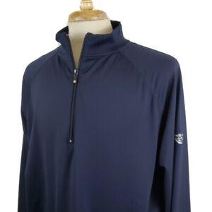 Foot Joy Pullover 1/4 Zip Golf Jacket Warm Up XL Navy Stretch Nylon Knit Trim