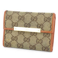 Gucci tri-fold wallet GG pattern beige canvas �~ leather Auth used T16917
