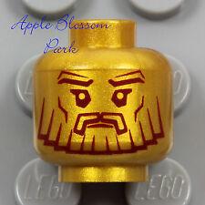 NEW Lego Atlantis King MINIFIG HEAD Pearl Gold Guard Statue Face Beard Mask 7985