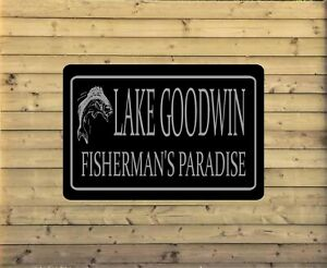 Personalized Lake House Metal Sign Custom Vacation Home Plaque fishing cabin L11