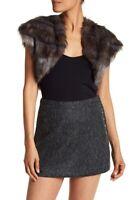 Ramy Brook GREY COMBO Kaylee Camo Faux Fur Shrug Vest, US 2X-Small