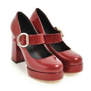 Womens Block Heels High Platform Buckle Straps Mary Jane Pumps OL Office Shoes