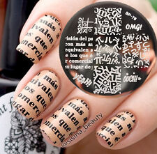 Born Pretty Nail Art imagen Sello Sellado Placas alfabeto tema Decoración de plantilla