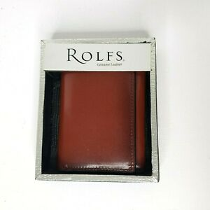 ROLFS Men's Brown Leather TriFold Wallet New In Box