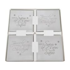 Set of 4 Square Mirror Christmas Saying Coasters Festive Glass Drink Decoration