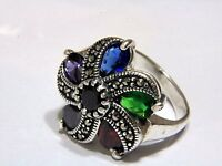 Ottoman  925 Sterling Silver Lady's Ring Amethyst Sapphire Gemstone Marcasite