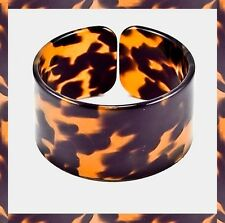 Tortoise Multi Color Brown Celluloid Design Abstract Cuff Acrylic Bracelet