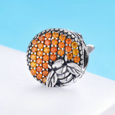 925 Sterling Silver Enamel Bumble Bee Honeycomb Charm Pendant Bead Fit Bracelet