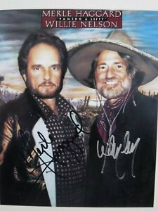 "MERLE HAGGARD - WILLIE NELSON  SIGNED ""PANCHO & LEFTY"" PHOTO"