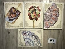 Lot of 4 Past Times Reproduction Turn of the Century Fan Greetings Cards Envelop